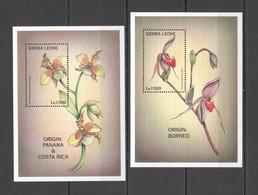 A224 SIERRA LEONE FLOWERS ORCHIDS ORIGIN PANAMA BORNEO & COSTA RICA 2BL MNH - Orchideen