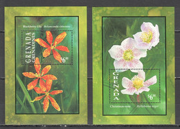 A1064 GRENADA GRENADINES PLANTS FLOWERS BLACKBERRY LILY CHRISTMAS ROSE 2BL MNH - Orchideen