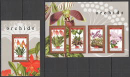 WW835 2011 MUSTIQUE NATURE FLORA FLOWERS ORCHIDS #220-23 MICHEL 18.5 EURO KB+BL MNH - Orchideen