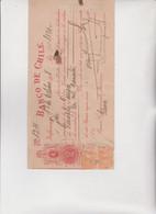 Cambiale - Di Cambio.  Banco  De  Chile  -  Valparaiso 1918.  Cin  Marche Cilene - Bills Of Exchange