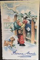 Cp, Bonne Année, Illustrateur Signée Luce André éd Superluxe, Garçon Postant Des Lettres, Chien, Rue Enneigé - Unclassified