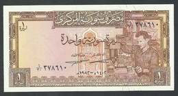 SYRIA. 1 POUND /1982/ UNC + 5 POUNDS/1991. Pick 93e + Pick 100e. LOT OF TWO BANKNOTES - Syria