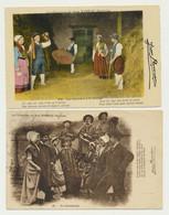 2 Cartes Fantaisie - Les Batteurs à La Grange -danse La Charibaude- Folklore Costumes Coiffes Animée - Chanson De RAMEAU - Farms