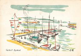 06 Golf Juan Illustration Illustrateur CR Port Bateau Cachet 1960 - Vallauris
