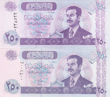 IRAQ 250 DINARS 2001 2002 P-88 LOT X2 UNC NOTES DIFFERENT COLORS - Iraq