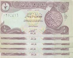 IRAQ 1/2 DINAR 1993 P-78 LOT X5 UNC NOTES - Iraq