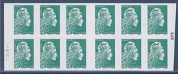 Marianne L'Engagée Carnet Lettre Verte X12 Le Plus Beau Timbre De L'année 2020 à Droite 023 - Usados Corriente