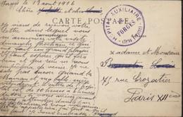 Guerre 14 Cachet Hôpital Auxiliaire De Forges Seine Et Marne CPA Environs Montereau Forges Château Transformé Hôpital - WW I