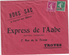 SEMEUSE - 1941 - ENVELOPPE HORS SAC ! EXPRES A LIVRER EN GARE => TROYES (AUBE) - 1921-1960: Modern Period
