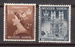 Samoa Mandat Neo Zelandais 1953 Yvert 159 / 160 ** Neufs Sans Charniere. Couronnement D'Elisabeth II - Samoa