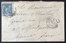 France N°90 Sur Enveloppe TAD TLEMCEN ALGERIE - (B626) - 1876-1898 Sage (Tipo II)