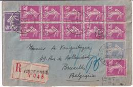 SEMEUSE - 1929 - AFFRANCHISSEMENT SPECTACULAIRE ! ENVELOPPE RECOMMANDEE De VINCENNES => BRUXELLES (BELGIQUE) - 1921-1960: Modern Period