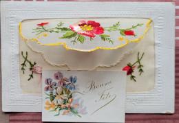 Fleur Brodée Enveloppe - Carte Dans L'enveloppe - Ricamate