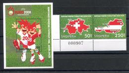 RC 20134 ALBANIE COTE 13,50€ N° 2942 / 2943 + BF 133 SPORT FOOTBALL EURO 2008 EN AUTRICHE ET SUISSE NEUF ** MNH TB - Albania