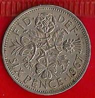 GRANDE-BRETAGNE 6 PENCE - 1967 - H. 6 Pence
