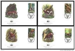 Zaire 1984 OBCn° 1253-56 (°) Used FDC WWF Okapi Cote 15 Euro - 1980-89: FDC
