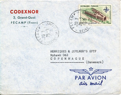 France Air Mail Cover Sent To Denmark Fecamp 25-5-1960 Single Franked OTAN - NATO Stamp - Covers & Documents