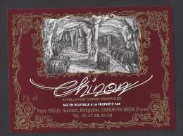 Etiquette De Vin De Chinon    -  Thème Cave Tonneaux  -  Pierre Prieur  à Savigny En Veron  (37) - Non Classificati