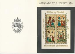 Liechtenstein Mi Bl. 8 O Broschüre Mit Erklärungen In 3 Sprachen - Blocchi & Fogli