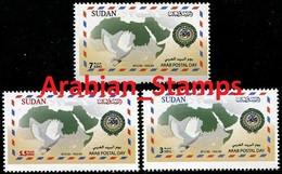 SUDAN SOUDAN MNH SET 2012 ARAB POSTAL DAY JOINT ISSUE ARAB POST DOVE MAP ENVELOPE ARAB LEAGUE EMBLEM - Emissioni Congiunte