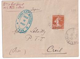SEMEUSE - 1928 - SEUL Sur ENVELOPPE IMPRIME Avec CACHET FOIRE EXPOSITION De BREST ! (FINISTERE) => CREIL - 1921-1960: Modern Period