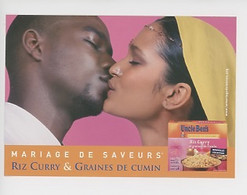 Uncle Ben's Mariage De Saveurs - Homme Noir Femme Indienne (cp Vierge) Riz Curry Graines Cumin Metissage - Publicité