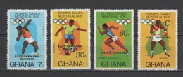 (S2281) GHANA 1977 (Summer Olympic Games, Monreal. Olympic Winners. Overprints). Complete Set. Mi ## 686A-689A. MNH** - Ghana (1957-...)