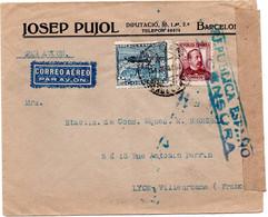 Espagne - 1938 Enveloppe Départ Barcelone Pour Lyon - Ouverte Par Censure - Republikeinse Censuur