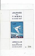 Journée Du Timbre 16 Mars 1947 Aéro-club Du Dauphiné Section De La Mure - Blocs & Carnets