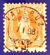 Stehende Helvetia Nr 66D Mit Voll ⦿ VAULRUZ 7 I 98 - Gebruikt