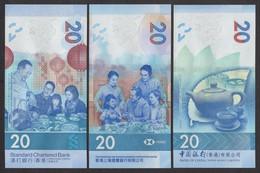 China Hong Kong BOC HSBC SCB 2018 20Dollars UNC 3 Pcs - Hong Kong