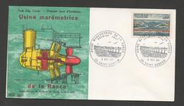 France 3 Décembre 1966  - Enveloppe 1er Jour Usine Marémotrice De La Rance (Groupe Bulbe) - First Day Cover (FDC) - 1960-1969