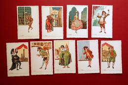 9 Cartoline Maschere Carnevale Tradizione Italiana Anni '20 Illustrate A Colori - Altri