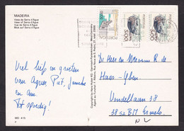 Portugal: Picture Postcard To Netherlands, 1989, 3 Stamps, Fishing Boat, Building, Card: Madeira (small Tear At Bottom) - Briefe U. Dokumente