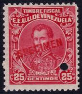 ✔️ Venezuela 1915 - Marechal Sucre Fiscal Fiscaux  SPECIMEN Yvert 128  ** MNH - Depart 1€ - Venezuela