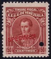 ✔️ Venezuela 1915 - Marechal Sucre Fiscal Fiscaux  SPECIMEN Yvert 129  ** MNH - Depart 1€ - Venezuela