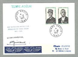 1972 TAAF / FSAT N° 46/47 CHARLES DE GAULLE SUR ENVELOPPE OBLITÉRÉE EN TERRE ADÉLIE AVEC SIGNATURE DE ROBERT GUILLARD - Non Classificati