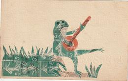 CPA Collage Timbres Découpés : Grenouille Jouant Du Banjo - Otros