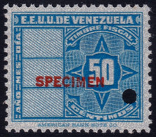 ✔️ Venezuela 1947 - Stempelmarke Timbre Fiscal Fiscaux SPECIMEN Overprint In Red Mi. 135 ** MNH - Depart 1€ - Venezuela