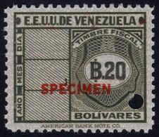 ✔️ Venezuela 1947 - Stempelmarke Timbre Fiscal Fiscaux SPECIMEN Overprint In Red Mi. A139 ** MNH - Depart 1€ - Venezuela