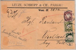 Bayern - 50+30+5 Pfg. Wappen, Wertbrief Passau - Viechtach 1910 - Bavaria
