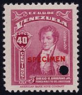 ✔️ Venezuela 1947 - Urbaneja SPECIMEN Overprint In Red - Mi. 471 ** MNH - Depart 1€ - Venezuela