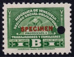 ✔️ Venezuela 1947 - Seguro Social SPECIMEN Overprint In Red  ** MNH - Depart 1€ - Venezuela