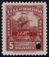 ✔️ Venezuela 1940 - Simon Bolivar Air Mail  SPECIMEN Mi. 369 ** MNH €27++ - Depart 1€ - Venezuela