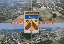 """76. EPOUVILLE. CPSM.  MULTIVUES. """" EPOUVILLE VUE DU CIEL"""" . 4 VUES VERT VILLAGE. STADE. LOTISSEMENTS - Autres Communes"""