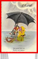 CPSM/gf  1er AVRIL.   Mon Amour Pour Vous, Bravera Tout Toujours, Parapluie...H345 - 1 De April (pescado De Abril)