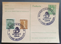 Österreich 1946, Postkarte MiF BEFREIUNGSFEIER WIENER SECESSION - 1945-60 Covers