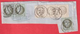 FRAGMENT DE LETTRE N°51 X3 52 BANDE DE 4 CAD MORLAIX FINISTERE - 1849-1876: Klassik
