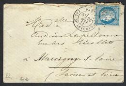 FRANCE 1873: LSC De Paris Pour Marcigny (S&L) Avec Le Y&T 60A, Obl. CAD - 1871-1875 Cérès