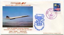ENVELOPPE CONCORDE TOUR DU MONDE AMERICAN EXPRESS SAN JUAN - MEXICO DU 2-10-1987 AVEC OBLITERATION SAN JUAN OCT 2 1987 - Concorde